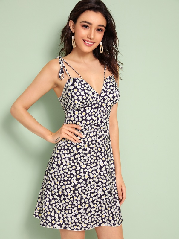 Daisy Floral Print Knotted Strap Bustier Dress, Roberta B