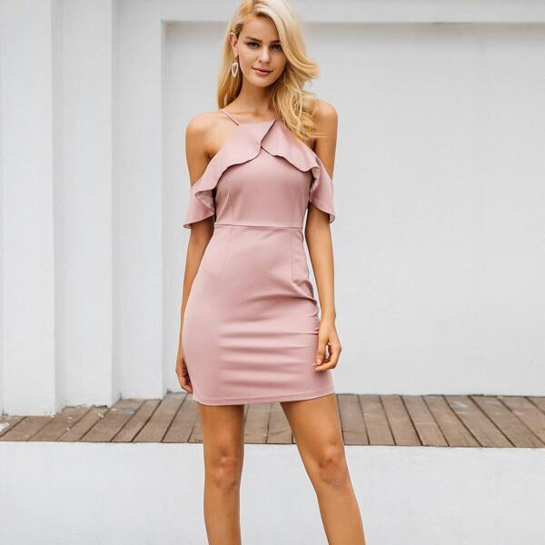 Simplee Ruffle Trim Cold Shoulder Bodycon Dress, Pink