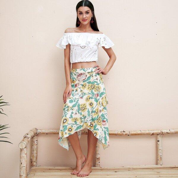 Simplee Floral Print Asymmetrical Hem Wrap Skirt, Multicolor