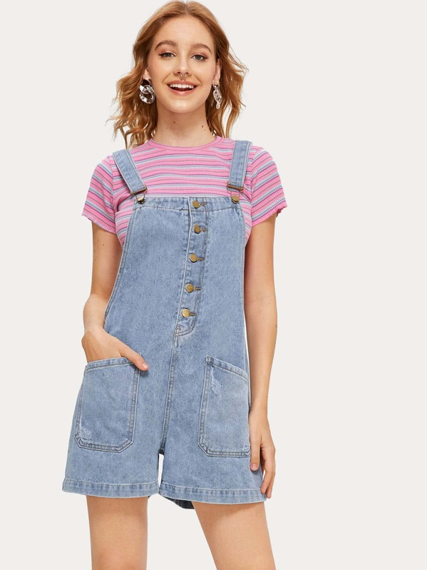 Button Front Pockets Denim Overalls, Larissa