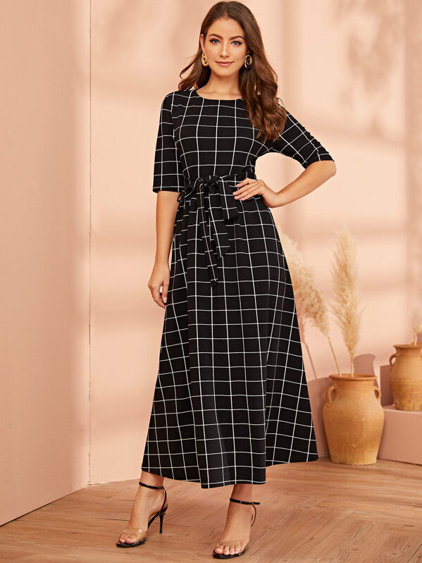 Half Sleeve Belted Grid Dress, Black, Debi Cruz