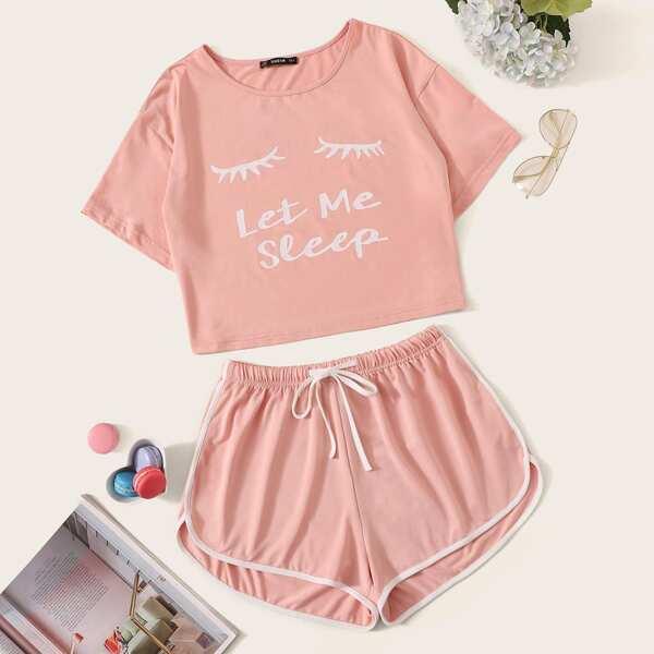 Slogan Graphic Top & Drawstring Waist Dolphin Shorts PJ Set, Pink