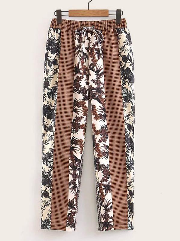 Floral Print Contrast Plaid Pants