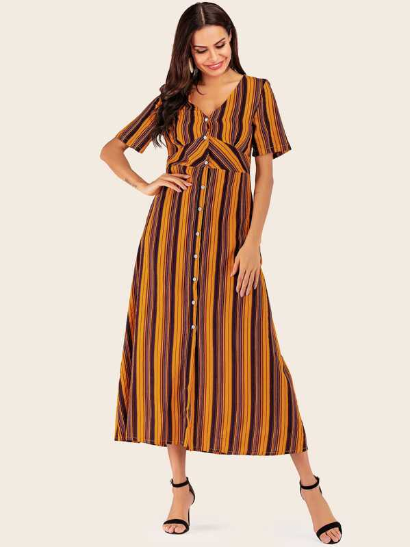 Colorful Stripe Longline Shirt Dress, Multicolor