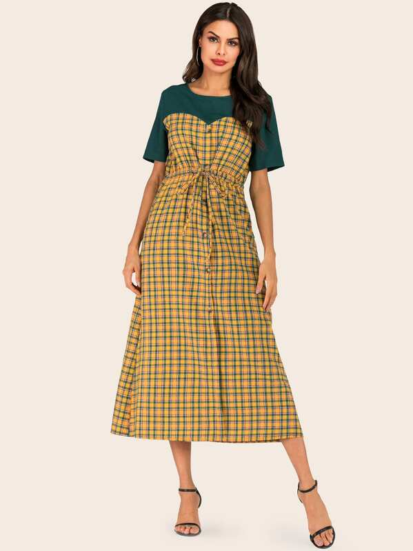 Contrast Plaid Drawstring Surplice Dress, Multicolor