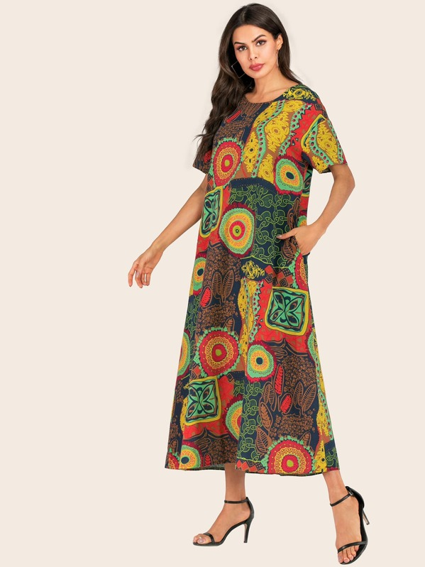 Graphic Print Hidden Pocket Longline Tunic Dress, Multicolor