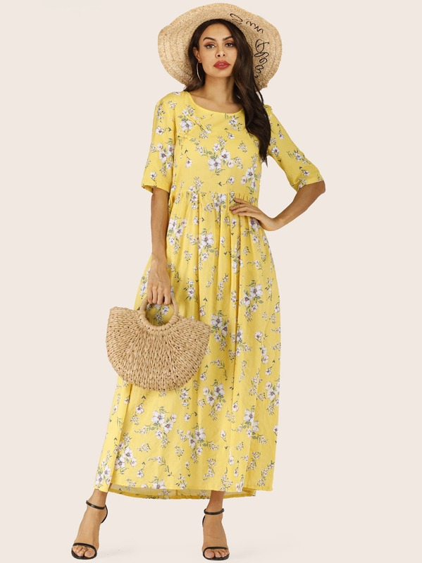 Floral Print Longline Dress, Yellow