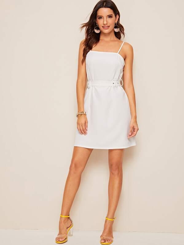 Solid Zip Back Adjustable Belted Slip Dress, White, Juliana