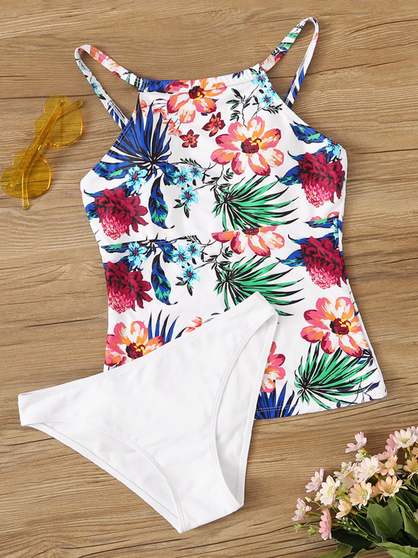 Floral & Leaf Print High Neck Tankini Set, null