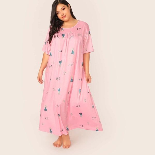 Plus Graphic Print Maxi Nightdress, Pink