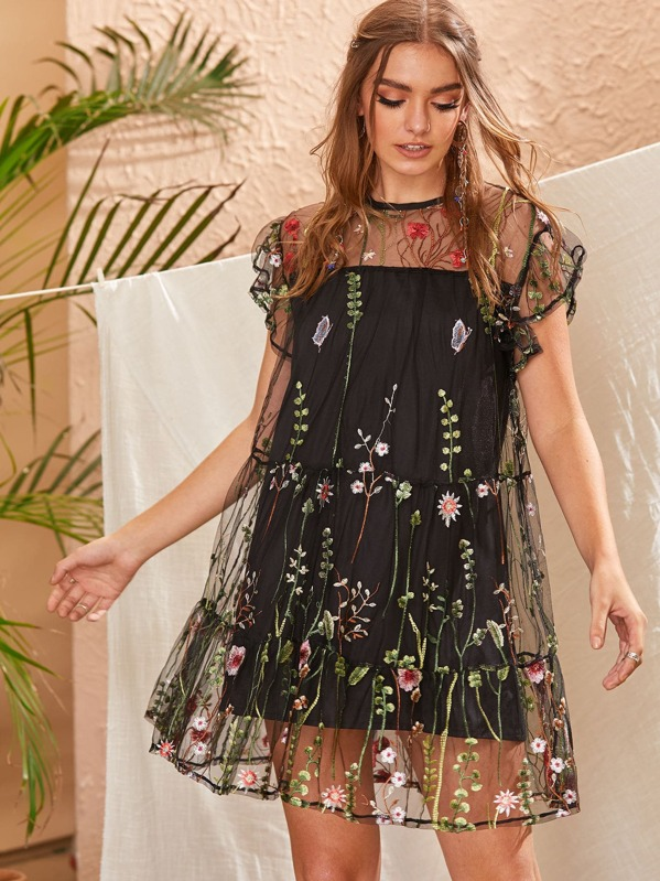Floral Embroidery Mesh Overlay Button Keyhole Dress, Luiza