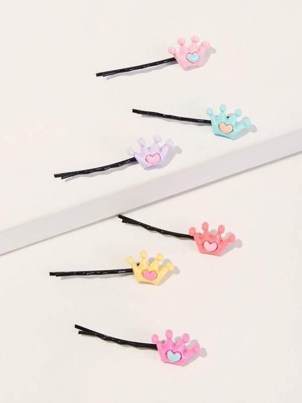 Toddler Girls Crown Decor Bobby Pin 6pcs, null