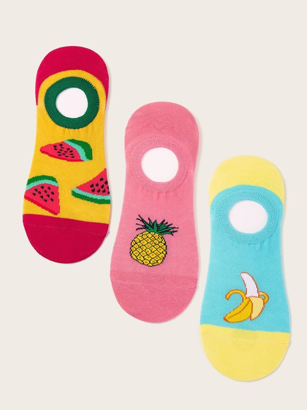 Men Watermelon Pattern Invisible Socks 3pairs, null