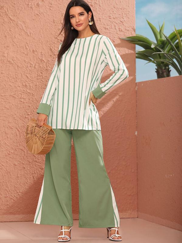 Striped Cut And Sew Keyhole Back Blouse & Pants Set, Multicolor, Juliana