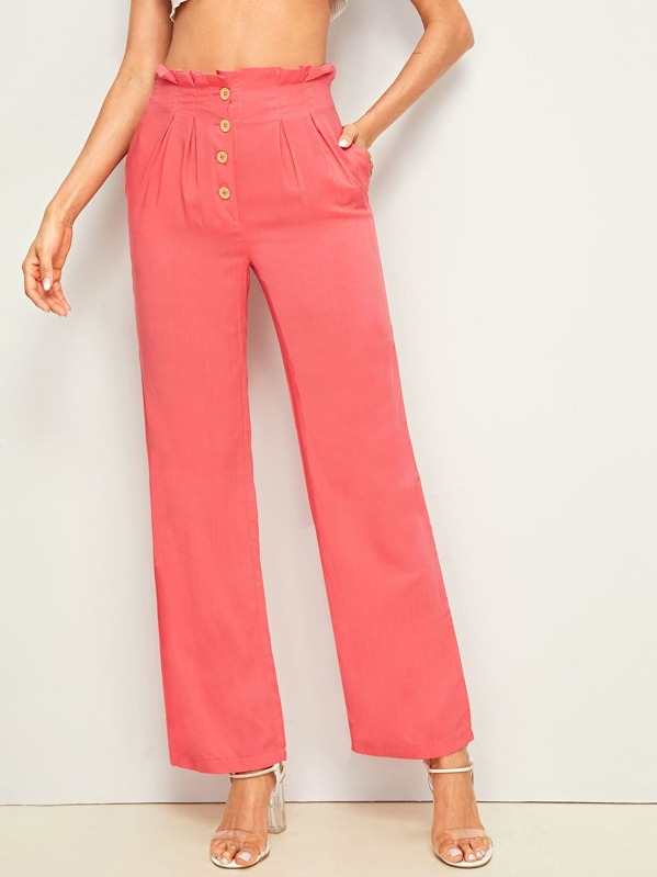 Solid Button Fly Paperbag Waist Pants, Andy