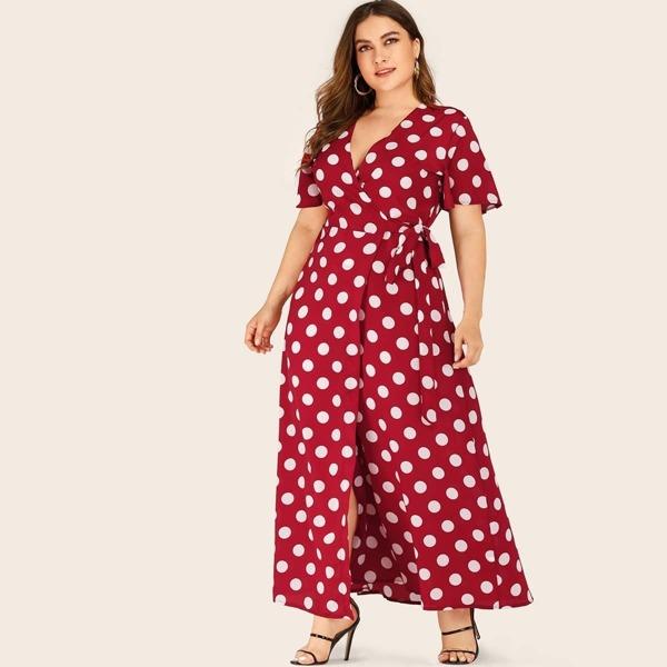 Plus Polka Dot Self Tie Maxi Wrap Dress, Burgundy