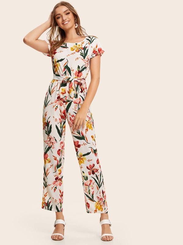 Button Back Belted Floral Print Jumpsuit, Luiza