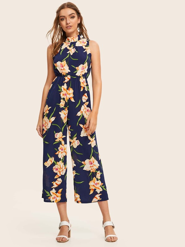 Backless Tie Back Floral Print Jumpsuit, Luiza