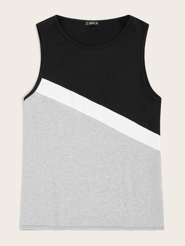 Men Heathered Grey Panel Colorblock Tank Top, null