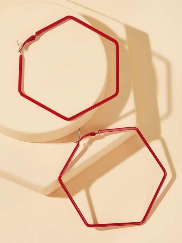 Hexagon Shaped Hoop Earrings 1pair, null