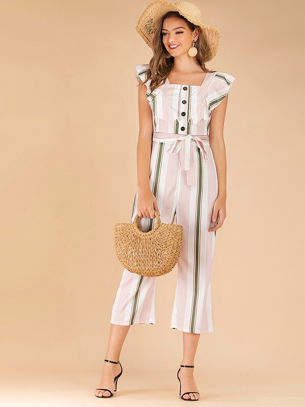 Striped Button Front Ruffle Trim Belted Jumpsuit, Luiza