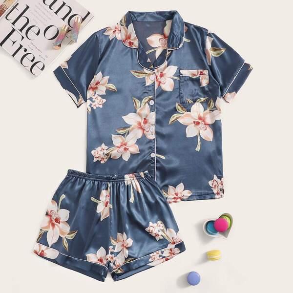 Floral Print Satin Pajama Set