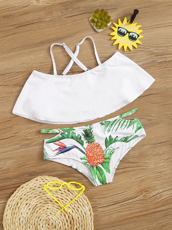 Girls Flounce Top With Tropical Bikini Set, null