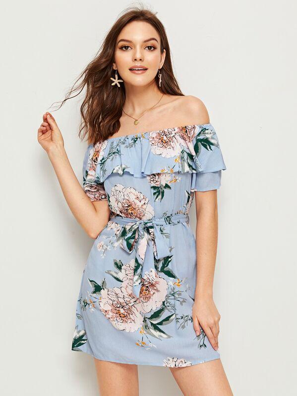 Large Floral Print Ruffle Trim Off Shoulder Belted Dress, Natalia