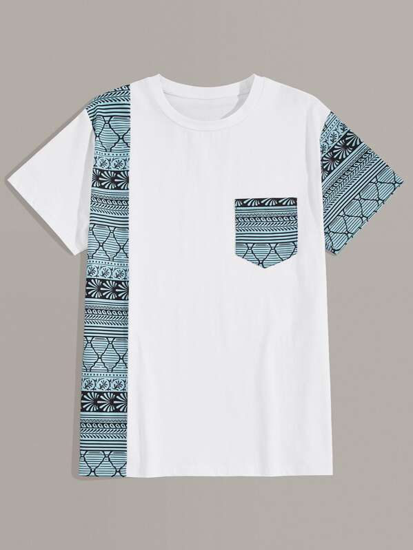 Men Contrast Pocket Tribal Print Panel Tee, null