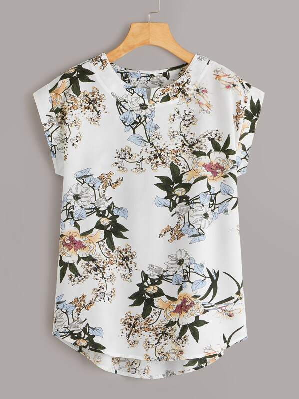 Floral Print High Low Cap Sleeve Blouse, null