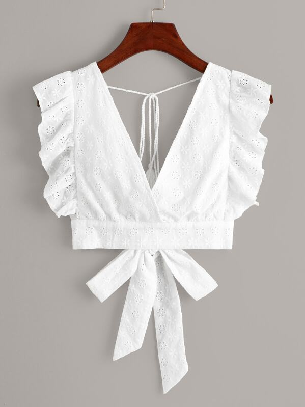 Eyelet Embroidery Ruffle Cuff Tie Back Blouse, null