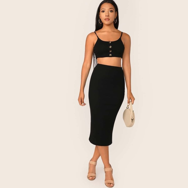 Button Front Rib-knit Cami Crop Top & Pencil Skirt Set