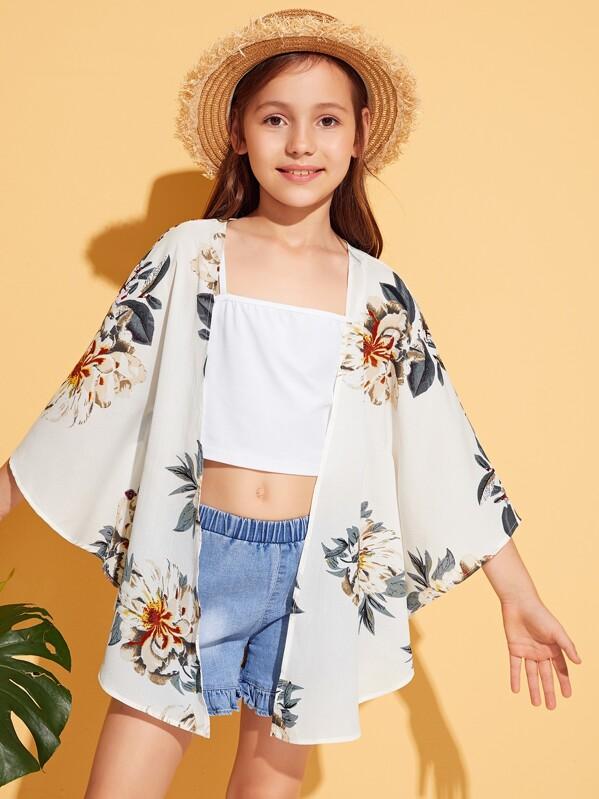 Girls Open Front Floral Print Kimono, Alice A
