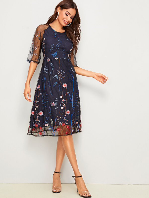 Floral Embroidery Mesh Overlay Dress, Andy