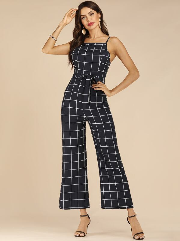 Self Tie Open Back Plaid Cami Jumpsuit, Andy