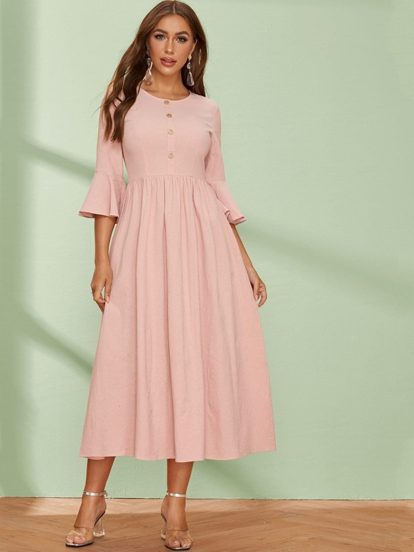 Button Front Flounce Sleeve Fit & Flare Dress, Pink, Hanna