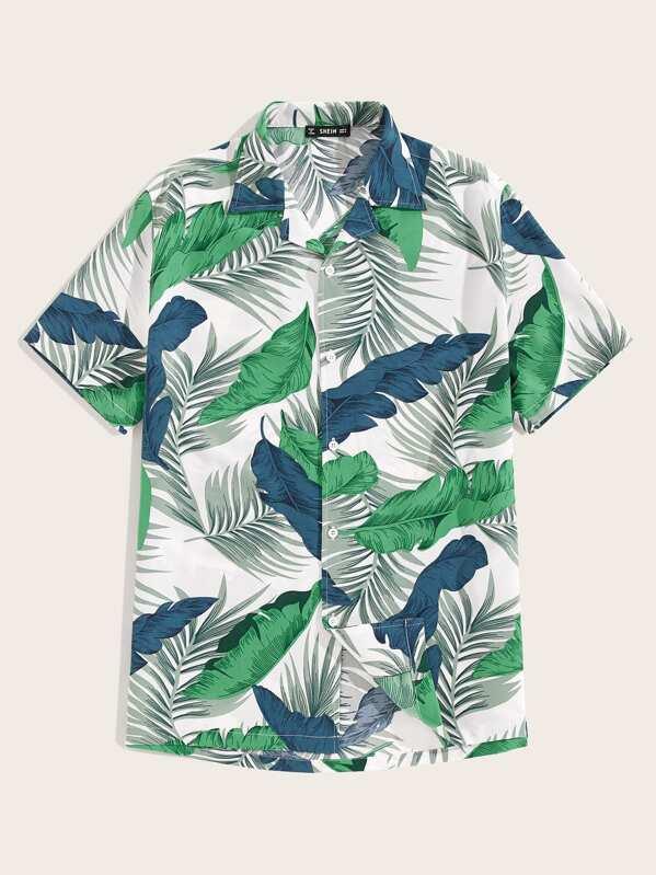 Men Revere Collar Tropical Print Shirt