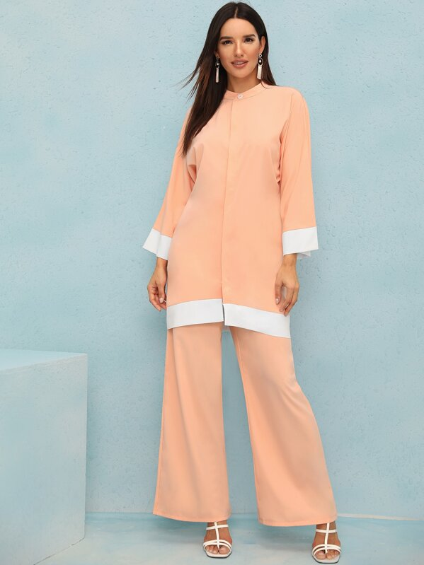 Cut And Sew Button Detail Blouse & Wide Leg Pants Set, Juliana