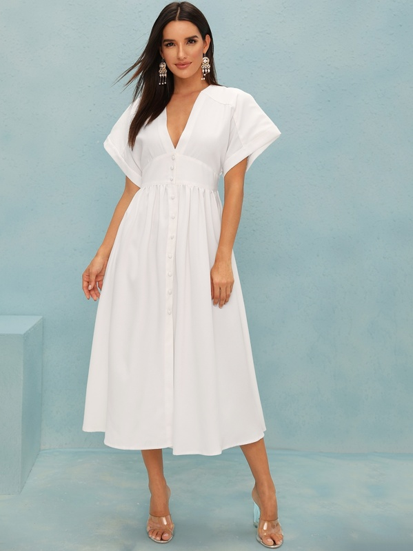 Solid Button Front Deep V Neck Plicated Dress, Juliana