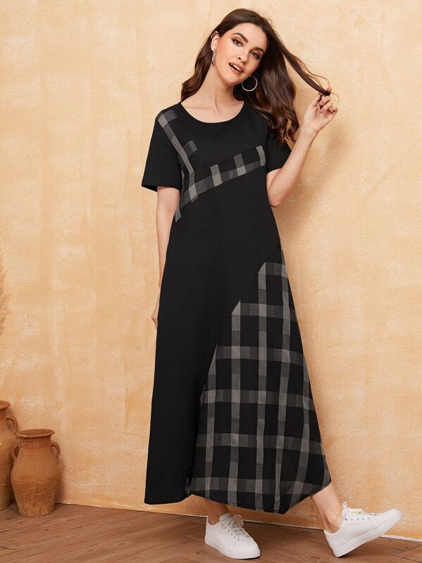 Plaid Contrast Longline Tee Dress, Multicolor, Vikie