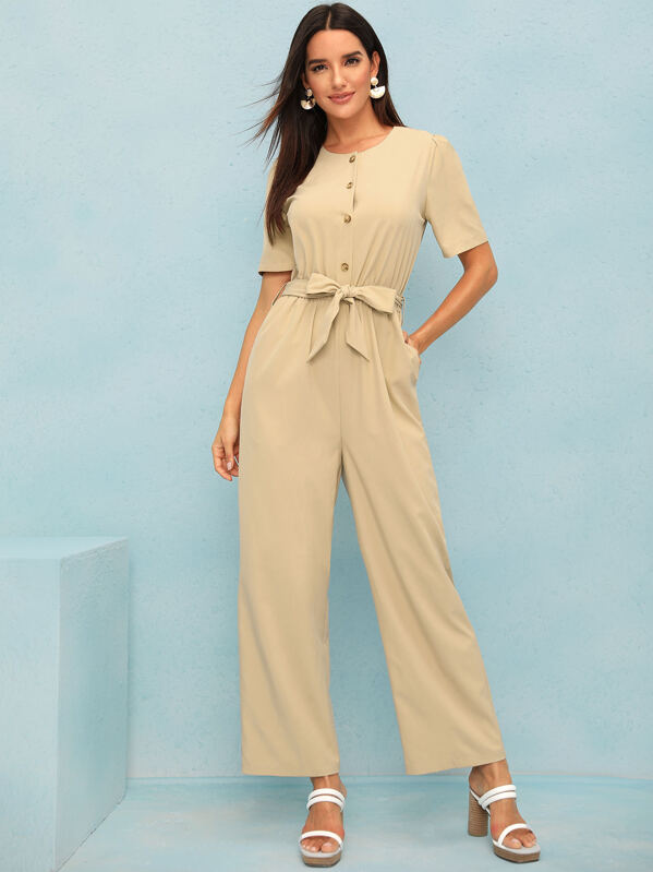 Solid Button Front Belted Wide Leg Jumpsuit, Juliana