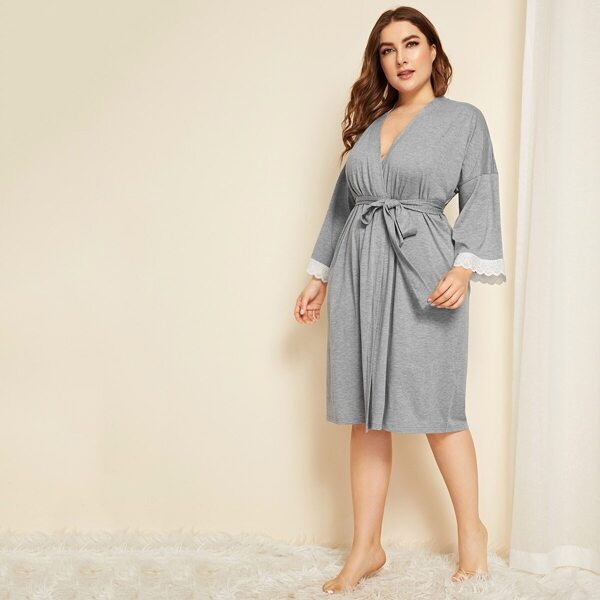 Plus Lace Trim Robe With Belt
