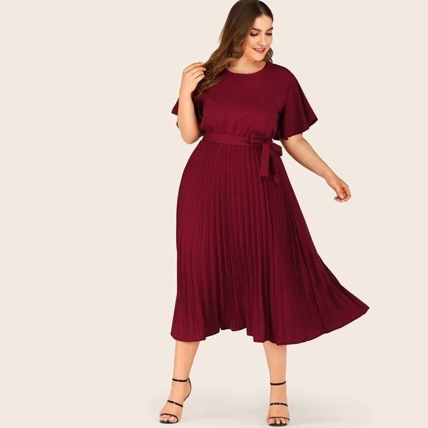 Plus Self Tie Butterfly Sleeve Pleated Dress, Burgundy