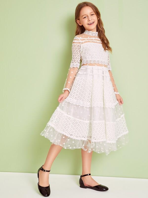 Girls Mock Neck Lace & Mesh Overlay Flare Dress, Sashab