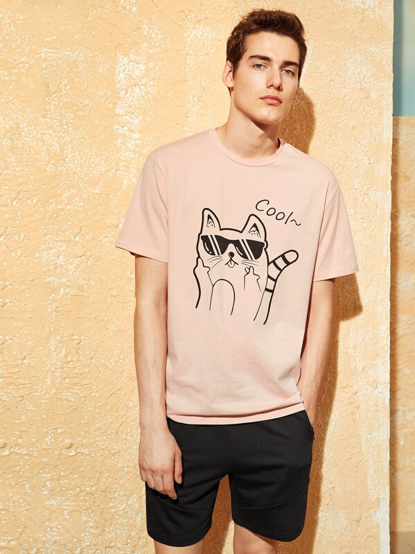 Men Cat and Letter Print Tee, Pink, Misha