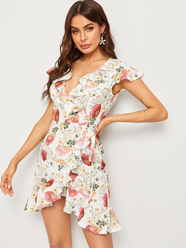 Plunging Neck Ruffle Trim Floral Print Asymmetrical Dress, Andy