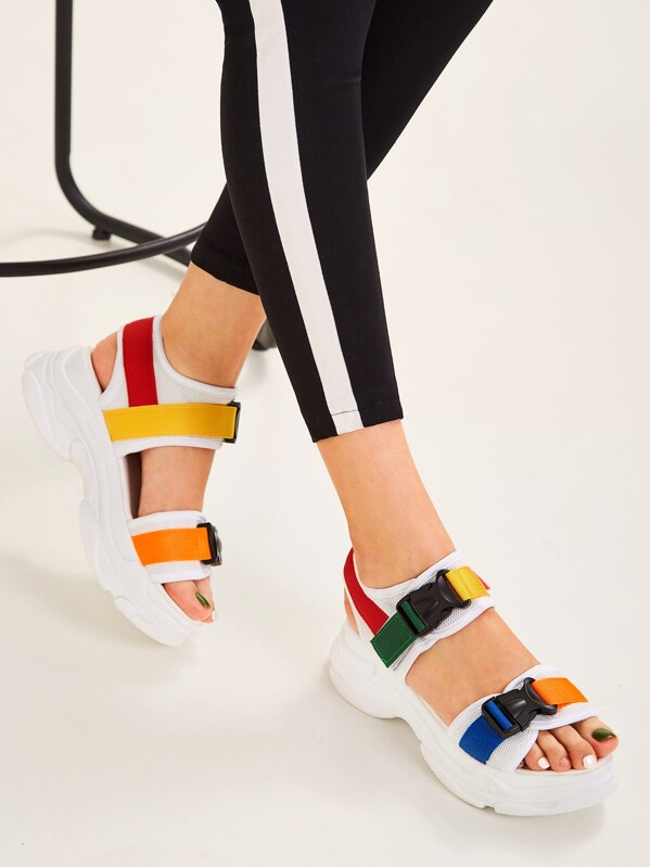 Release Buckle Chunky Sandals, null
