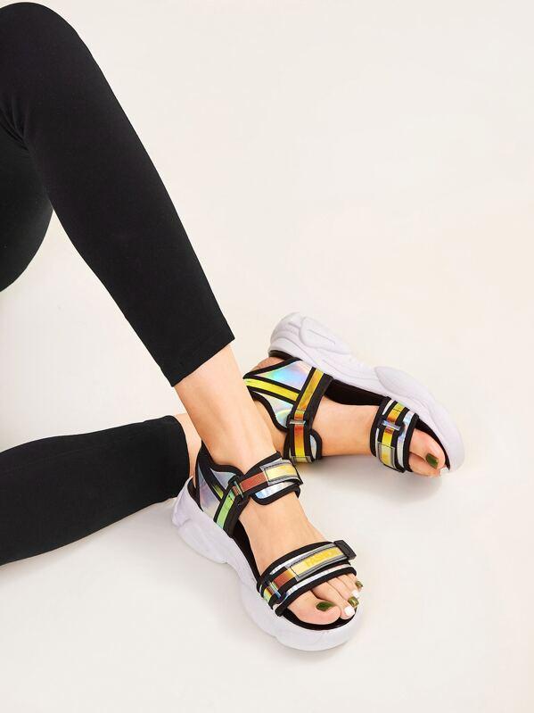 Iridescent Panel Open Toe Sandals, null
