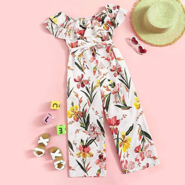 Girls Ruffle Trim Floral Print Belted Jumpsuit