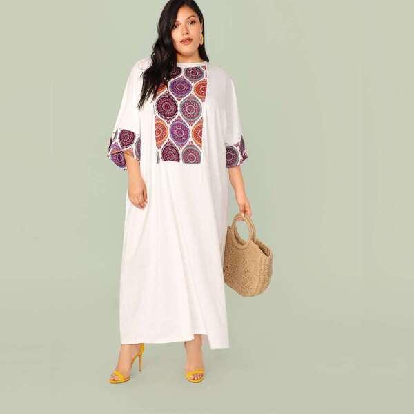 Plus Tribal Print Panel Oversized Dress, White